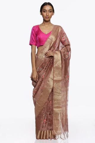 Taupe Pure Linen Tussar Silk Saree with All Embroidered Floral Motifs and Gold Zari Border