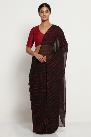 Black Pure Chiffon Saree with Contrasting Red Traditional Leheriya Pattern