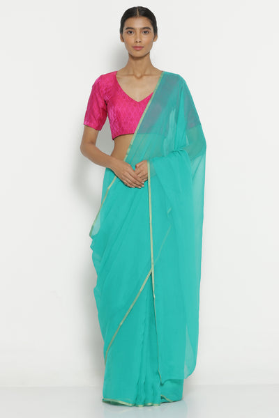 Via East turquoise blue pure crepe saree with gold zari border