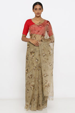 Grey Handloom Pure Silk-Organza Sheer Saree with All Over Digital Floral Print