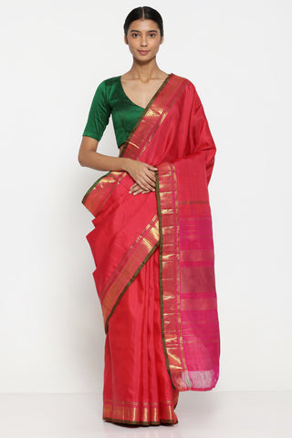 Deep Pink Handloom Pure Silk Kanjeevaram Saree with Rich Pure Zari Border