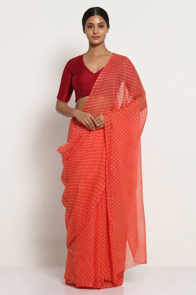 Via East salmon pink pure chiffon saree with traditional leheriya print