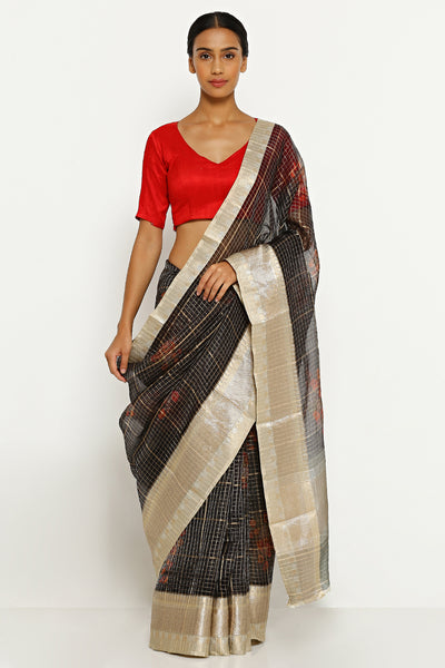 Via East black pure silk organza saree with floral print and all over zari checks