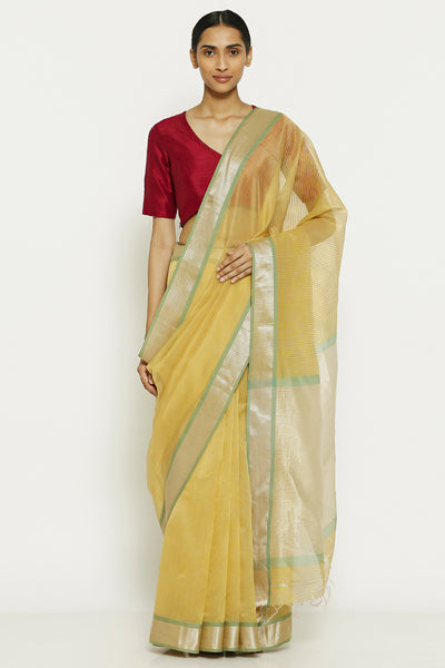 Via East summer yellow handloom pure cotton tissue maheshwari saree with all over striped pattern
