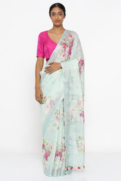 Via East powder blue pure linen saree with all over floral print and silver zari border