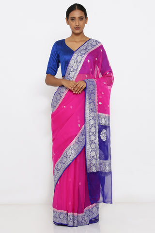 Pink Handloom Pure Georgette Banarasi Saree with Zari Motif and Blue Border