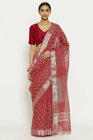 Mulberry Pink Pure Linen Saree with All Over Silver Embroidery