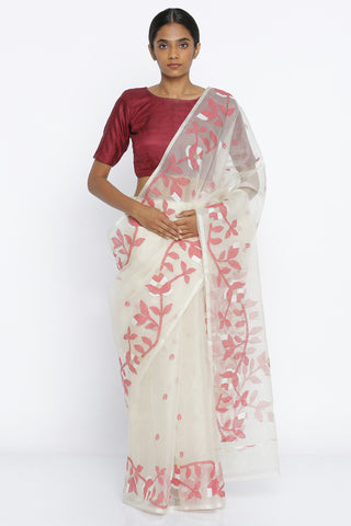 White Handloom Pure Muslin Silk Sheer Saree with All Over Floral Motif and Intricate Jamdani Border