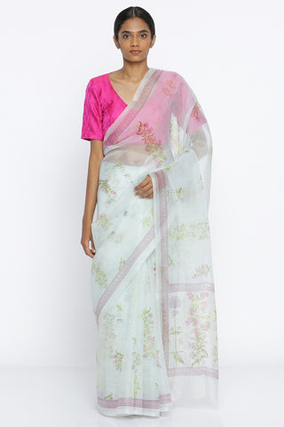 Pale Blue Handloom Pure Silk-Organza Sheer Saree with All Over Digital Floral Print