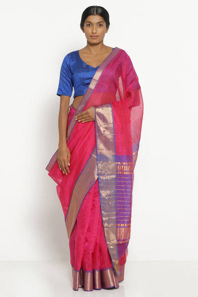 Via East pink handloom silk cotton mangalagiri saree with contrasting blue border