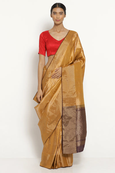 Via East yellow handloom pure silk banarasi saree with all over intricate gold zari motifs