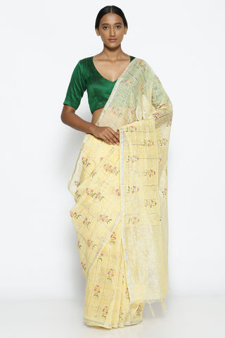 Light Yellow Linen Saree with All Over Floral Embroidery