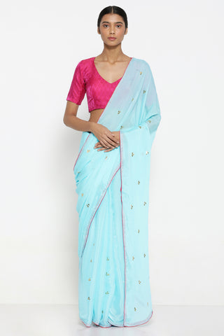 Sky Blue Chiffon Saree with All Over Hand Embroidered Gota Patti Work and Contrasting Pink Border