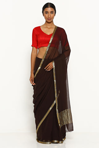Chocolate Brown Pure Chiffon Saree with Gold Zari Border