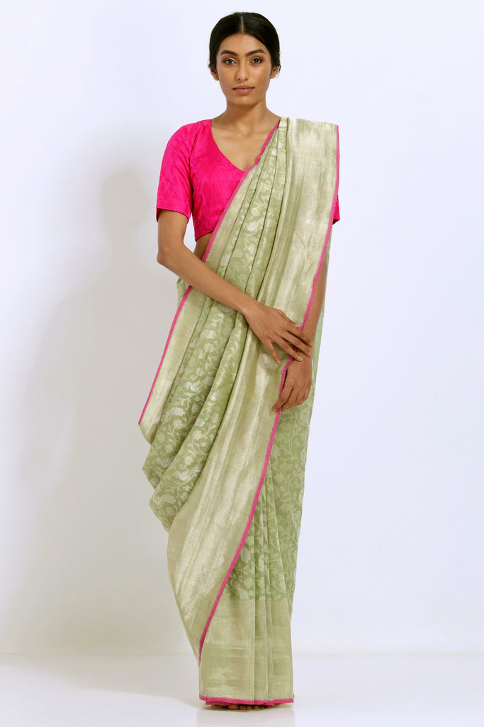 Tea Green Handloom Pure Silk Banarasi Saree with Handwoven Peacock Motifs