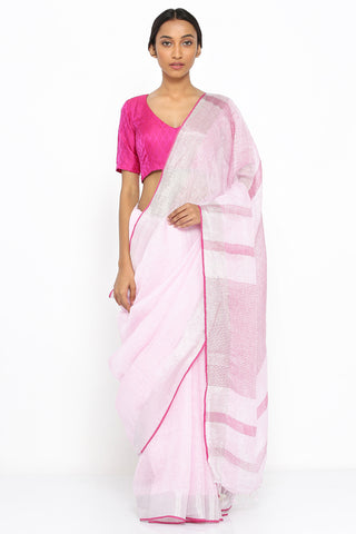 Powder Pink Handloom Pure Linen Saree with Silver Zari Border