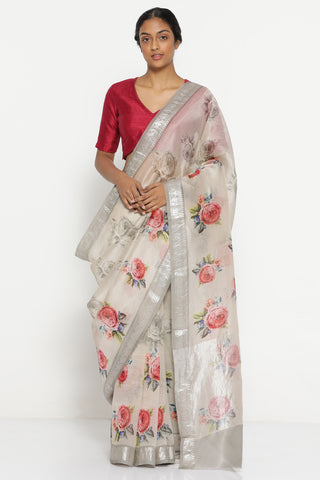 Silver Grey Pure Silk Organza Sheer Saree with Vintage Floral Print and Rich Silver Zari Border