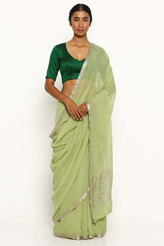 Sage Green Pure Chiffon Saree with All Over Traditional Mukaish Work