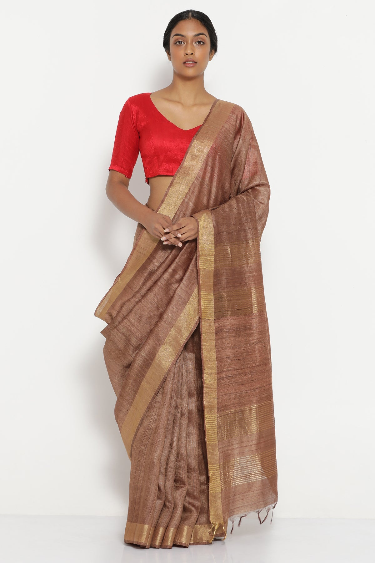 e1d2de570a Chestnut Brown Handloom Pure Tussar Silk Saree with Gold Zari Border ...