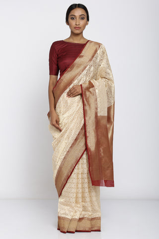 Cream Handloom Pure Silk Saree with All Over Handwoven Pattern and Rich Pallu