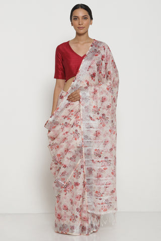 Cream Pure Linen Saree with All Over Floral Print