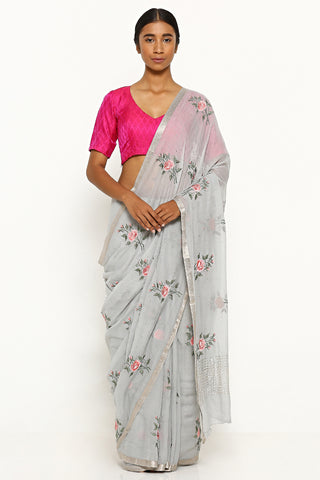 Slate Grey Pure Chiffon Saree with Floral Embroidery and Mukaish Work