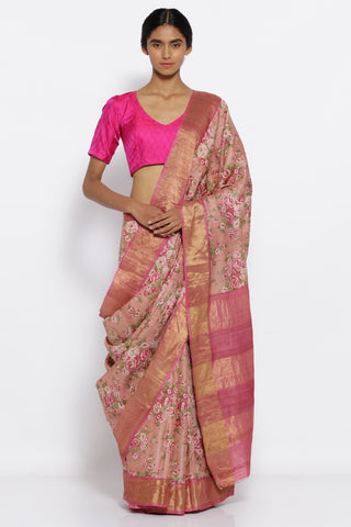 Blush Pink Handloom Pure Tussar Silk Saree with All Over Floral Print and Woven Zari Border