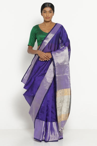 Via East purple handloom silk cotton mangalagiri saree with rich silver border
