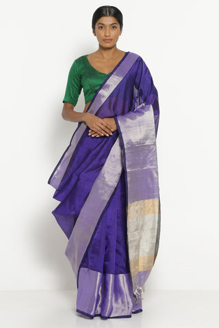 Purple Handloom Silk Cotton Mangalagiri Saree with Rich Silver Border