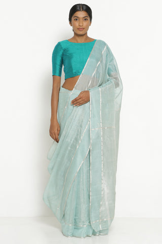 Aqua Blue Handloom Silk Tissue Chanderi Saree with Detailed Pallu