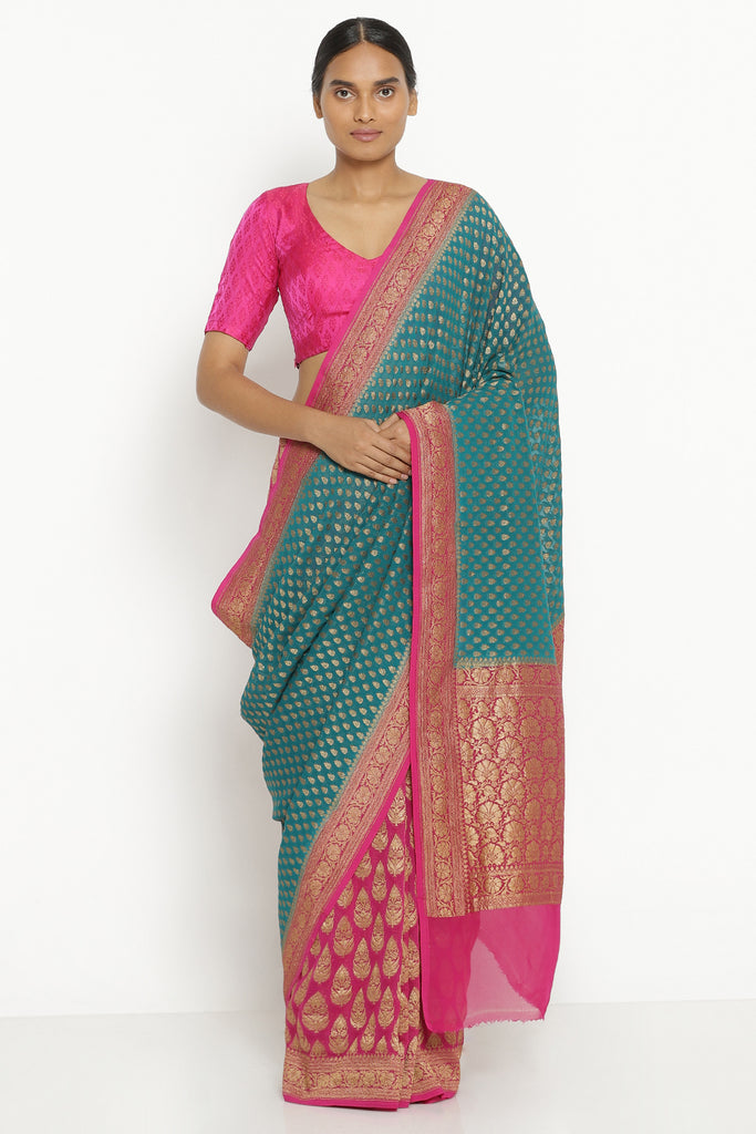 Teal Pure Silk Georgette Banarasi Saree with All Over Bird Motif and Patli Pallu