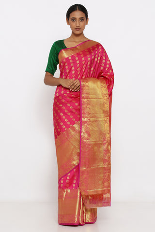 Pink Genuine Handloom Kanjeevaram Silk Saree with Allover Pure Zari Motif and Rich Border and Pallu