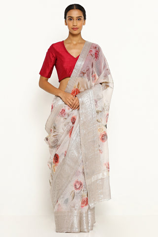 Grey Pure Silk Kota Saree with All Over Floral Print