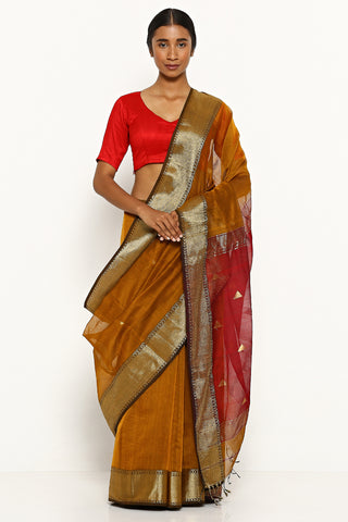 Mustard Handloom Silk Cotton Maheshwari Saree with Traditional Gold Border