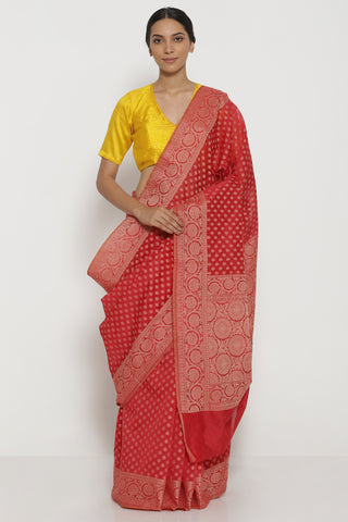 Red Pure Silk Cotton Banarasi Saree with All Over Traditional Motifs and Woven Border