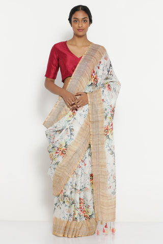 White Pure Linen Saree with All Over Floral Print and Silver and Gold Zari Border