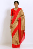 Gold-Red Handloom Pure Silk Banarasi Saree with All Over Zari Work