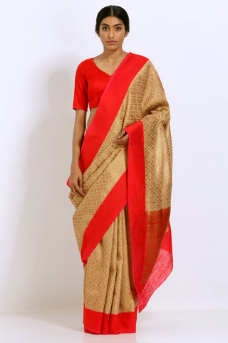 Gold-Red Handloom Pure Silk Banarasi Tanchoi Saree with All Over Zari Work