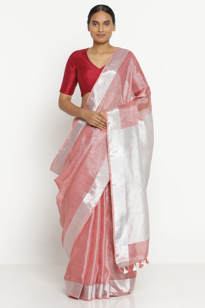 Via East peach linen tissue saree with silver zari border