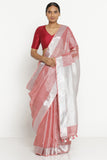 Pink Linen Tissue Saree with Silver Zari Border