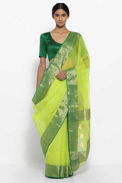 Via East lemon green handloom pure silk chanderi sheer saree with all over zari motifs and rich zari border