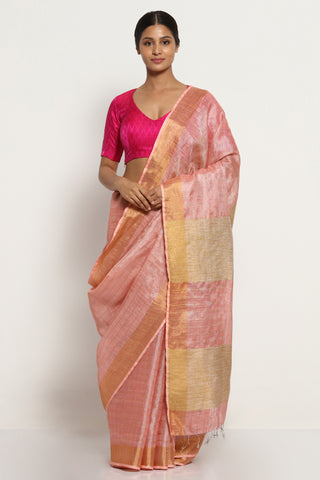 Blush Pink Linen Tissue Saree with All Over Silver Zari Stripes