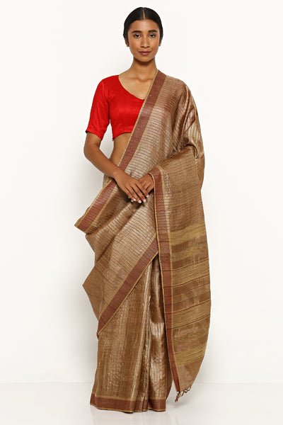 Via East brown handloom pure tussar silk saree with woven stripes