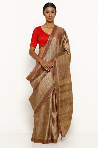 Brown Handloom Pure Tussar Silk Saree with Woven Stripes