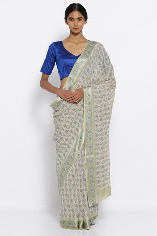 Beige Pure Chiffon Saree with Floral Printed Motifs and Satin Printed Border