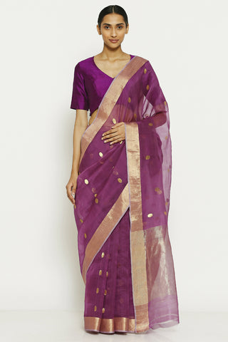 Purple Handloom Pure Silk Cotton Chanderi Saree with All Over Traditional Gold Motifs