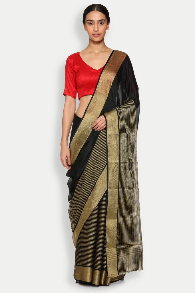 Black Pure Crepe Saree with Gold Zari Striped Pattern