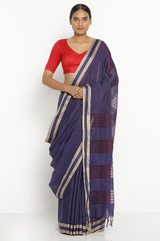 Violet Handloom Pure Cotton Kota Saree with All Over Checked Pattern