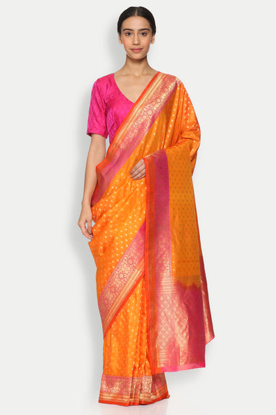 Via East copy of orange handloom pure silk banarasi saree with all over gold zari motifs
