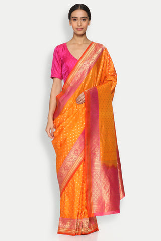 Orange Handloom Pure Silk Banarasi Saree with All Over Gold Zari Motifs